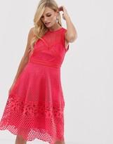 Little Mistress sleeve all over lace skater dress