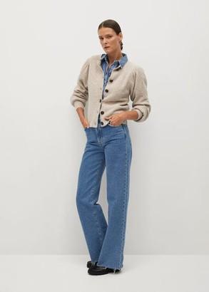 MANGO Puffed sleeves cardigan medium brown - S - Women