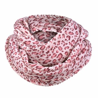 Musheng Scarf Womens Scarf Musheng Womens Leopard Print Soft Lightweight Chiffon Loop Infinity Scarf Wave Snood Wrap Scarves (Pink)