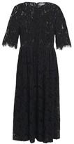 Ganni Everdale Pleated Corded Lace Midi Dress