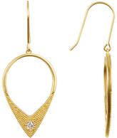 Freida Rothman 14K Gold Plated Sterling Silver Single CZ Stone Arrow Drop Earrings