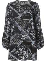 Dorothy Perkins Womens Printed Tie Neck Tunic- Blue