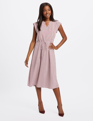 Draper James Gingham Keyhole Midi Dress