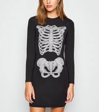 New Look Brave Soul Halloween Skeleton Bodycon Dress