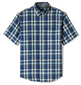 Classic Men's Tall Traditional Fit Short Sleeve Madras Shirt-Blue Jay Plaid