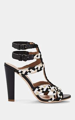 Alberta Ferretti Women's Braided Ribbon T-Strap Sandals - Black