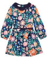 Margherita Kids Little Girl's Linen-Blend Floral Print Dress