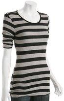 black stripe 'Sharpei' pleat sleeve t-shirt