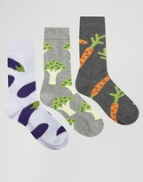 Asos Socks With Vegetable Design 3 Pack