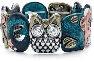 PalmBeach Jewelry Silvertone Antiqued Owl Stretch Bracelet Crystal 7 inch Length
