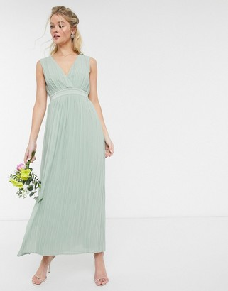 Y.A.S pleated maxi dress with deep v neck in green