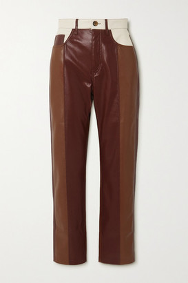 Nanushka Vinni Cropped Color-block Vegan Leather Straight-leg Pants - Brown