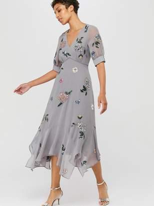 Monsoon Hariette Embellished Hanky Hem Dress - Grey