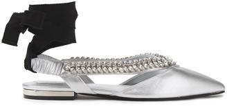 Roger Vivier Choc Real V Crystal-embellished Metallic Leather Point-toe Flats