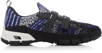 Prada Logo-Embossed Rubber And Leather-Trimmed Knit Sneakers