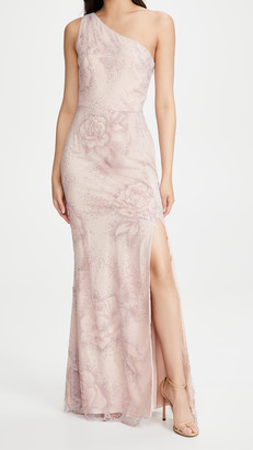 Marchesa One Shoulder Flocked Glitter Tulle Gown