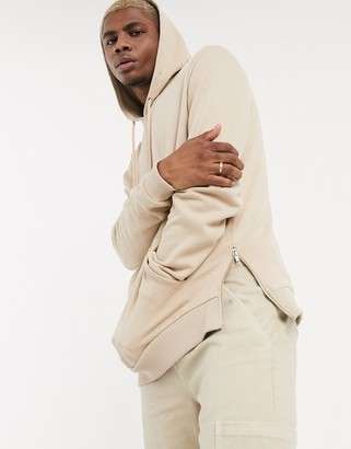ASOS DESIGN hoodie with silver side zips in beige