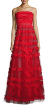 Sachin + Babi Strapless Embroidered Tulle Ball Gown, Red