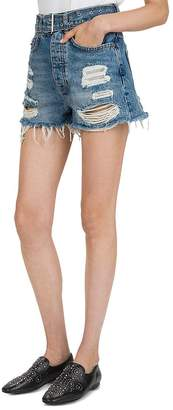 The Kooples High-Rise Destroyed Denim Mini Shorts in Blue Washed