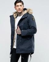 Schott M51 Fishtail Parka Fleece Lined Hood with Detachable Faux Fur Trim