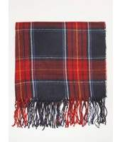 Dorothy Perkins Womens Navy and Red Tartan Checked Scarf- Blue