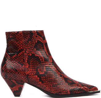 Aldo Castagna Red Python Leather Ankle Boot