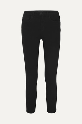 L'Agence Margot Cropped High-rise Skinny Jeans - Black