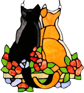 """River Of Goods 12.5"""" Stained Glass Cats in the Garden Window Panel, Orange"""