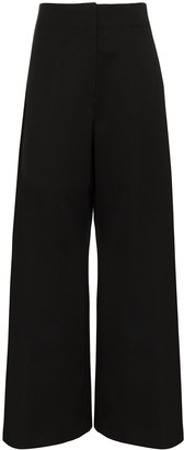 Jil Sander Satin-Stripe Flared Tuxedo Trousers