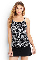 Classic Women's Scoopneck Tankini Top-Black/White Etched Scroll