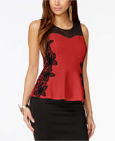 Thalia Sodi Lace-Trim Illusion Peplum Top, Created for Macy's