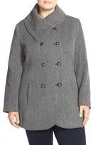 Jessica Simpson Plus Size Women's Double Breasted Basket Weave Coat