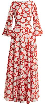Rebecca De Ravenel Lola Polka-dot Print Bell-sleeved Dress - Womens - Red Multi