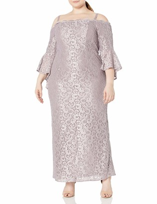 R & M Richards R&M Richards Women's Plus Size Missy one Piece lace Fitted Bell Sleeve Dress Chambray 20W