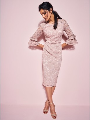 M&Co GLAMOUR blush lace pencil dress