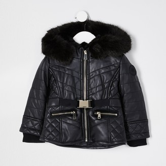River Island Mini girls Black faux leather padded jacket