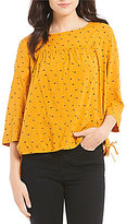 Levi's s Astrid Printed Side-Tie 3/4 Sleeve Blouse