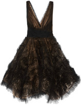 Marchesa Appliquéd Tulle Mini Dress - Black