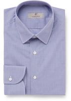 Canali Blue Slim-fit Gingham Cotton-poplin Shirt - Blue