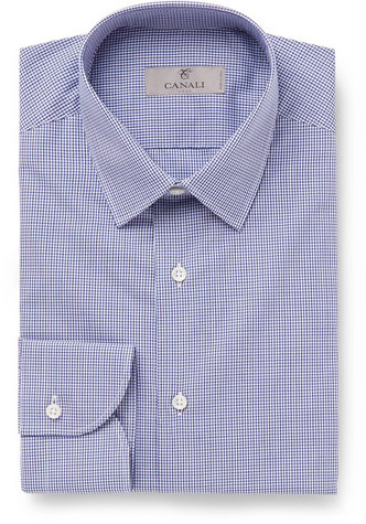 Canali Blue Slim-Fit Gingham Cotton-Poplin Shirt