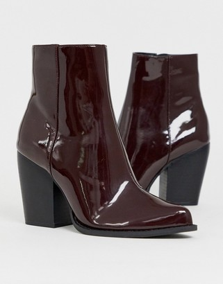 Asos Design DESIGN Robin heeled ankle boots in burgundy patent-Red