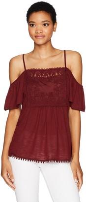 Taylor & Sage Women's Embroidered Mesh Applique Cold Shoulder Top