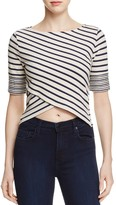 Three Dots Crossover Front Stripe Top