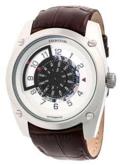 Heritor Automatic Daniels Silver Leather Watches 43mm