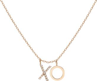 AUrate New York Double Mini Letter Charm Pendant with White Diamonds