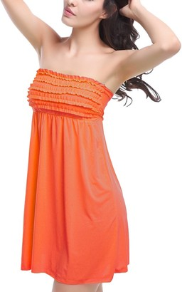 GUOCU Womens Summer Strapless Tube Top Elasticated Swing Dress Top Casual Solid Color Sleeveless Sundress Sunscreen Beach Cover Up Dress Orange One Size