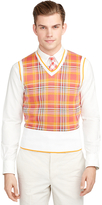Brooks Brothers Madras Tipped Sweater Vest