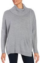 Ivanka Trump Dolman-Sleeve Cowlneck Fringed Sweater