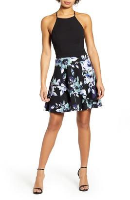 Speechless Floral Print Scuba Fit & Flare Minidress