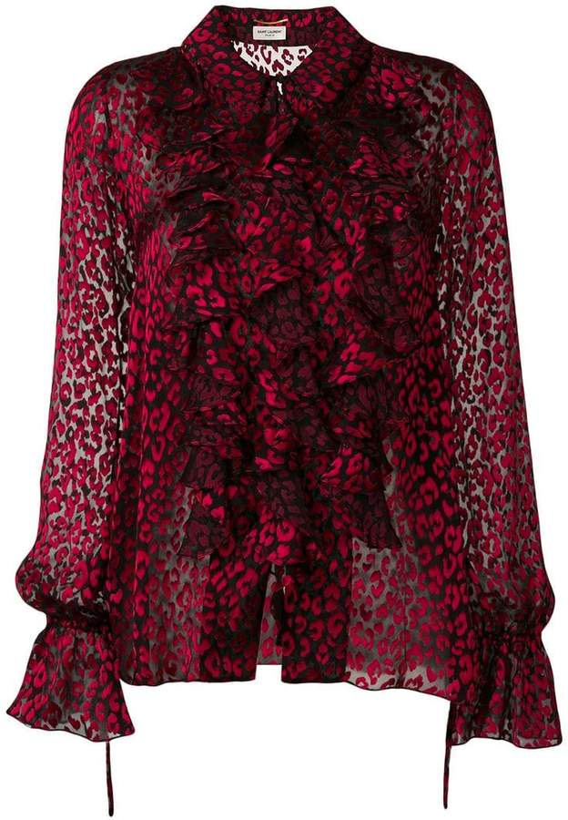 4ffe473f2514d1 Red Leopard Print Top - ShopStyle